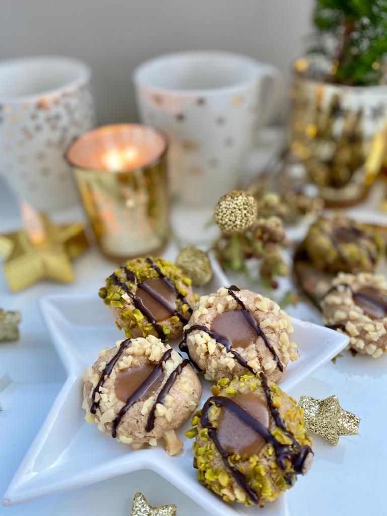Weihnachtsplätzchen mit Karamell